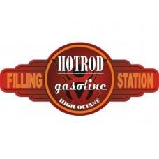 Hot Rod Gasoline Service Station tin metal sign