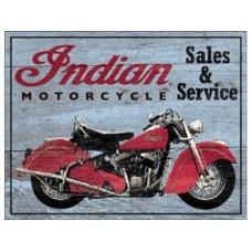 Sales and Service Indian tin metal sign