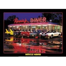 Jerry Berta Rosie's Diner-Muscle Mania tin metal sign