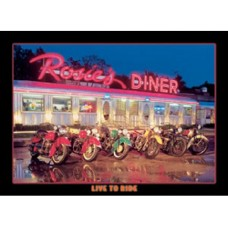 Jerry Berta Rosie's Diner-Live to Ride tin metal sign