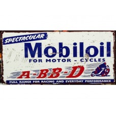 Mobil For Motor Cycles Tin Metal Sign