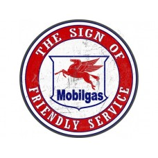 Mobilgas Friendly Service Round tin metal sign