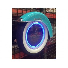 Motorcycle White wall tyre clock turquoise with Fender