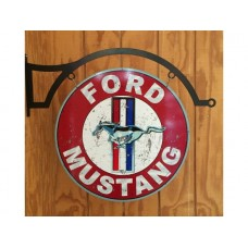 Mustang Large round with hanger tin metal sign