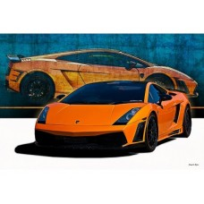 Orange Lamborghini Gallardo tin metal sign