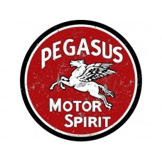 Pegasus Motor Spirit large round tin metal sign