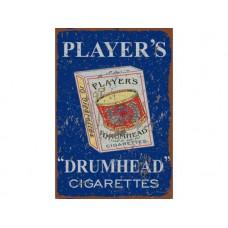 Players Drum Head tin metal sign