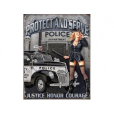 Police Department Protect & Serve tin metal sign