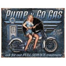 Pump n Go Gas tin metal sign