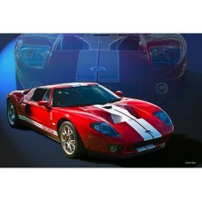 Red Ford GT40 tin metal sign