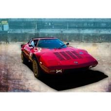 Red Lancia Stratos tin metal sign