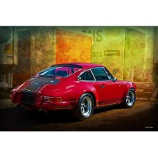 Red Porsche Rear tin metal sign