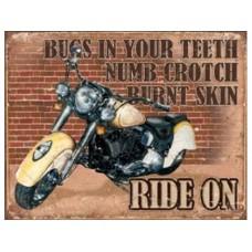 Ride On tin metal sign