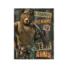 Right Bear Arms tin metal sign