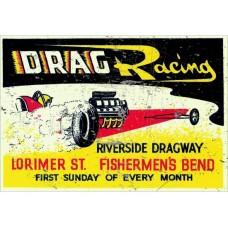 Riverside Drag Racing tin metal sign