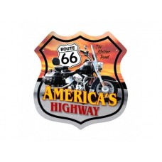 Route 66 America's Highway Bike tin metal sign