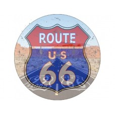 Route 66 Blue/Red Round tin metal sign