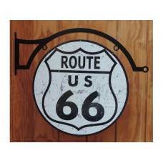 Route 66 double sided round with hanger tin metal sign