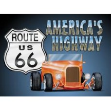 Route 66 Roadster tin metal sign