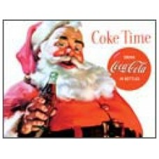 Coke Santa- Coke Time tin metal sign