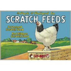Scratch Feeds tin metal sign