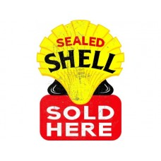 Sealed Shell Sold Here tin metal sign