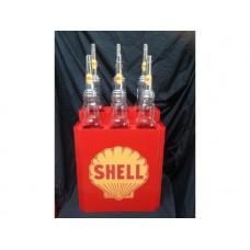 Shell Oil Bottle Rack and Glass Bottles