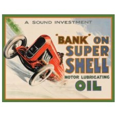 Shell-Bank On tin metal sign