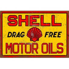 Shell Drag Free Motor Oil tin metal sign