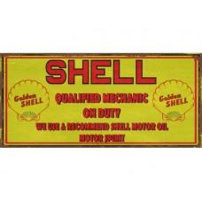 Shell Mechanic tin metal sign