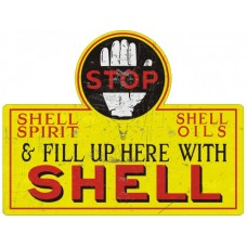 Shell Stop Die Cut tin metal sign