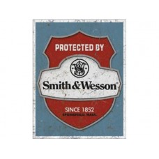 Smith & Wesson Protected By tin metal sign