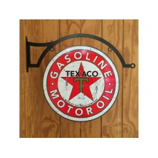 Texaco Fire Chief Large Round Double Sided and hanger tin metal sign