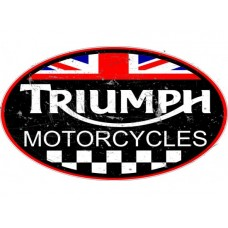 Triumph large Oval Checkered Flag tin metal sign