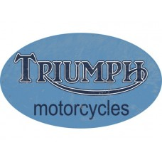 Triumph large Oval Motorcycle Logo Blue tin metal sign