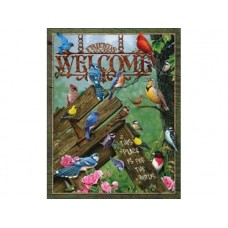 Welcome-Place for birds tin metal sign