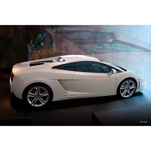 White Lamborghini Gallardo Tin Metal Sign