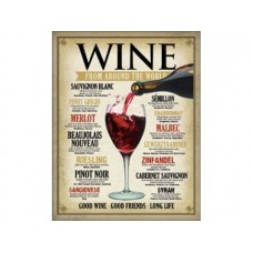 Wine around the World tin metal sign