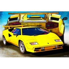 Yellow Countach tin metal sign