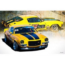 Yellow Z28 tin metal sign